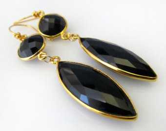 Bezel Black Onyx earrings