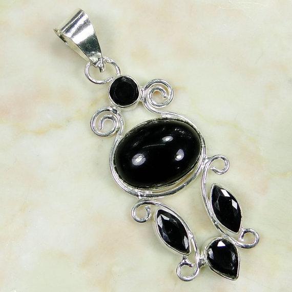 Black Onyx 925 Sterling Silver Overlay PENDANT 42mm - gems gemstones gemstone
