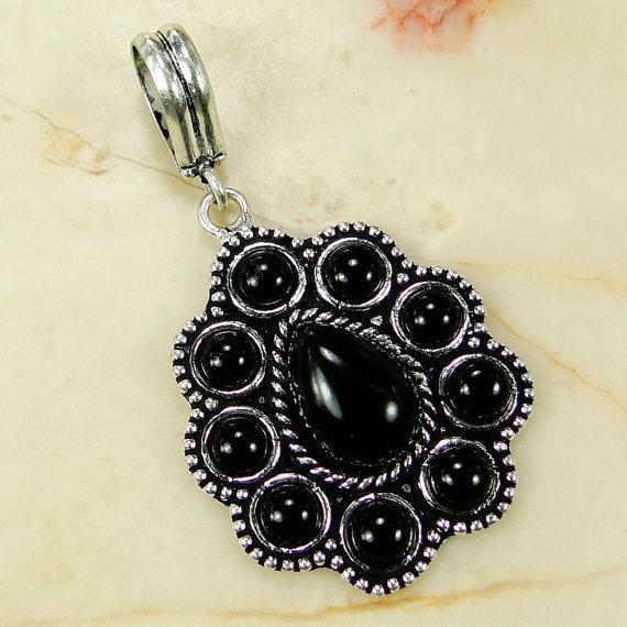 Black Onyx 925 Sterling Silver Overlay Pendant 53mm - gems gemstones gemstone