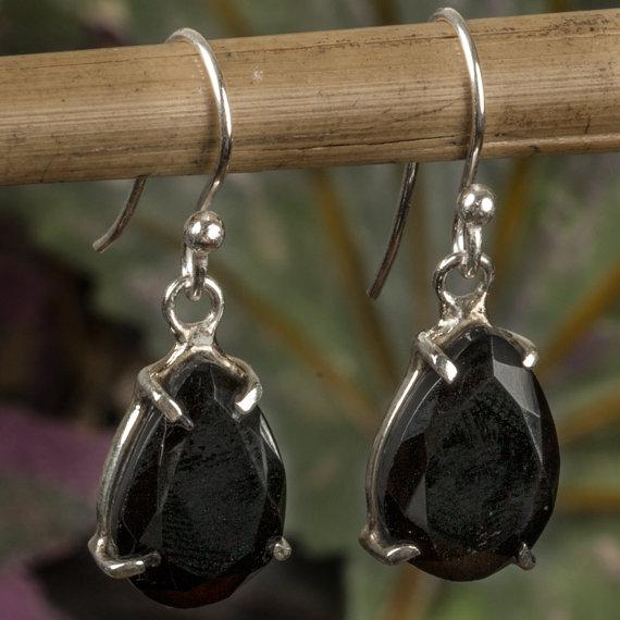 Black Onyx Earrings, Black Stone Earrings, Black Silver Earrings, Onyx Gemstone Earrings, Onyx Silver Earrings