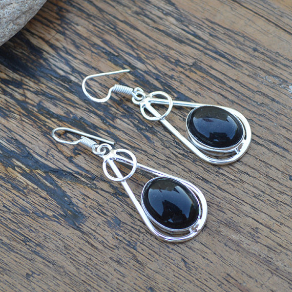 Black Onyx Gemstone Earrings Jewelry, 925 Silver Handmade Jewelry, December Women's Birthstone Gift Dangle Earrings