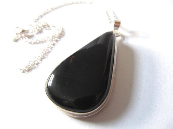 Black Onyx Necklace - Large Teardrop Gemstone Pendant - Big Tear Shaped