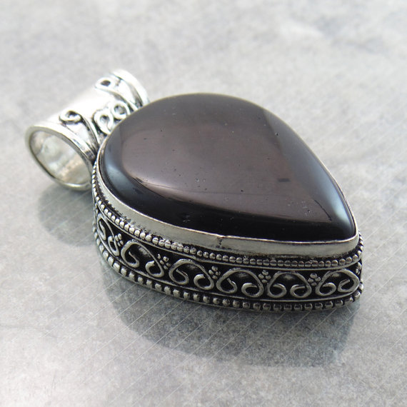 Black Pear Shape Agate - Pear Cabochon Pendant - Handcrafted Gemstone Pendant - Black Agate Jewelry - Sterling Silver Jewelry