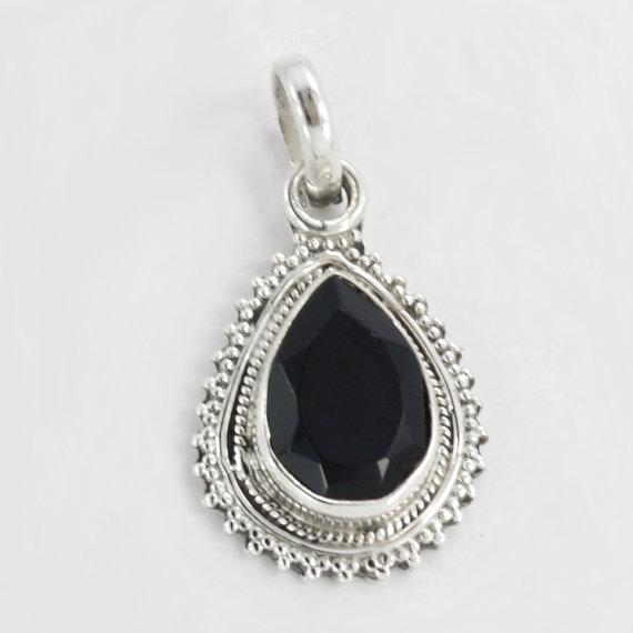 Black onyx Stone Pendant, Onyx Pendant, Necklace, Stone Pendant,Silver Pendant Necklace,Black onyx,Beautiful Pendant,Genuine onyx 2