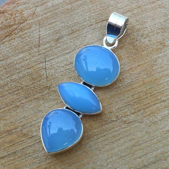 Blue Chalcedony Pendant - 925 Silver Pendant, Gemstone Pendant, Cabochon Pendant, Solid Silver Pendant, Blue Stone Pendant, Artisan Pendant