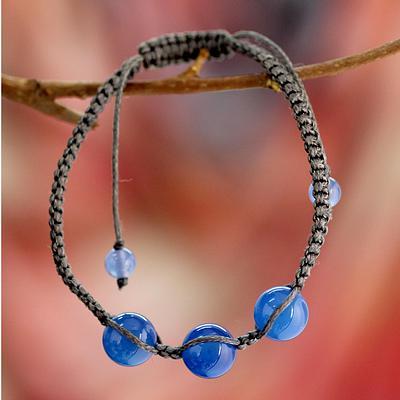 Blue Chalcedony Shambhala-style Macrame Bracelet from India