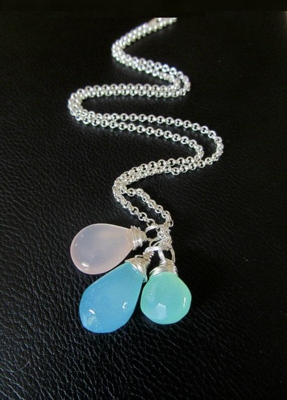 Blue Chalcedony pendant, Aqua chalcedony pendant, sterling silver gemstone jewelry, mix & match