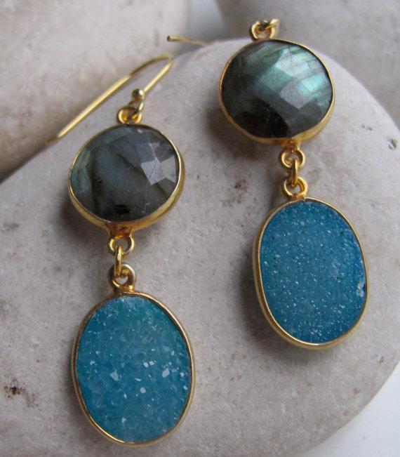 Blue Earring- Gemstone Earring- Labradorite Earring- Statement Earring- Druzy Earring- Blue Quartz Earring