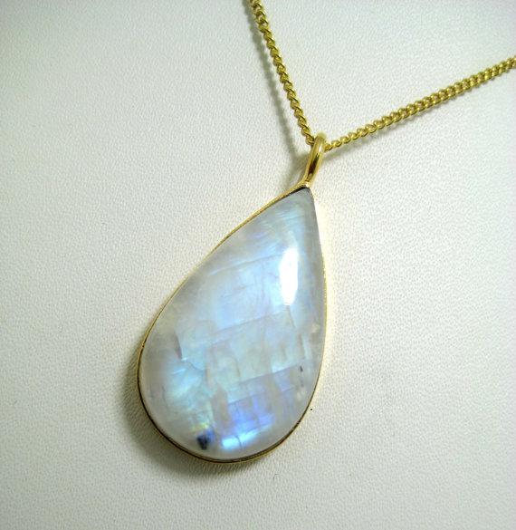 Blue Flashy Rainbow Moonstone Gemstone Cabochon Gold Plated Pendant Necklace bridal wear jewelry bridesmaid necklace