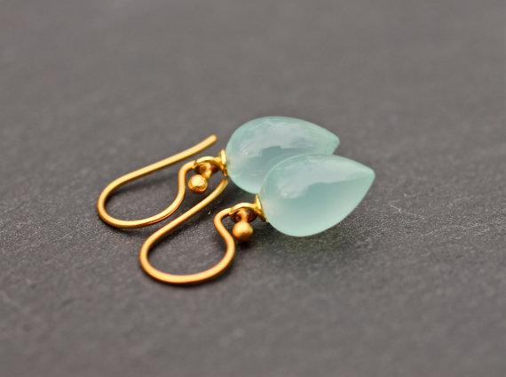 Blue Gemstone Earrings , Chalcedony Earrings ,Gemstone Earrings , Tear Drop Earrings , Fine Jewelry , Wedding Jewelry , Amy Fine Design