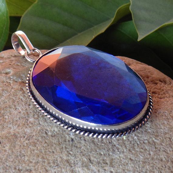 Blue Hydro Glass Pendant - Handmade Pendant - Oval Cut Stone Pendant - Bezel Set Pendant - Party Wear Pendant