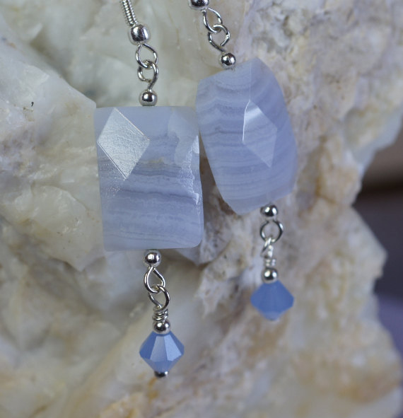 Blue Lace Agate Earrings. Dangle Eariings, Gemstone Earrings.