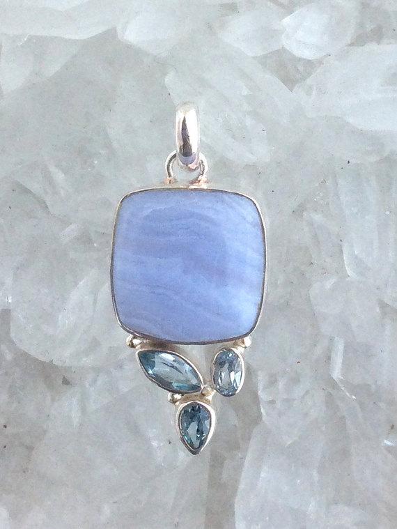 Blue Lace Agate and Blue Topaz Pendant Blue Lace Agate Jewelry Blue Topaz Gemstone Pendant Gemstone Jewelry Blue Pendant