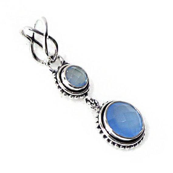Blue Onyx Pendant - Sterling Silver Pendant - Best gift idea - Handmade gift, pendant jewelry, Silver Gemstone Pendant,Two Stone Pendant