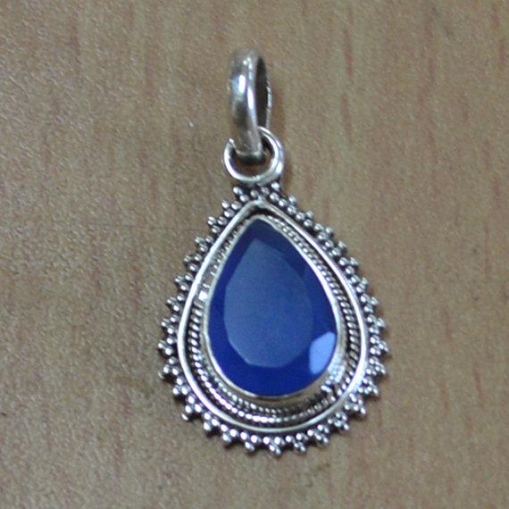 Blue Onyx Pendant,Sterling Silver,Genuine Pendant,Sterling Silver Pendant - Handmade pendant jewelry,Silver Gemstone Pendant,Silver Necklace
