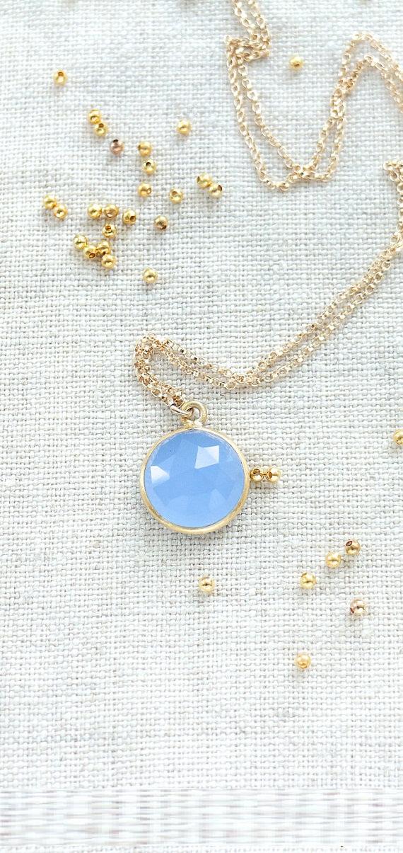 Blue Quartz Necklace, Cornflower Blue Quartz Pendant Necklace, Blue Gemstone Pendant, Dainty Blue Pendant in Gold