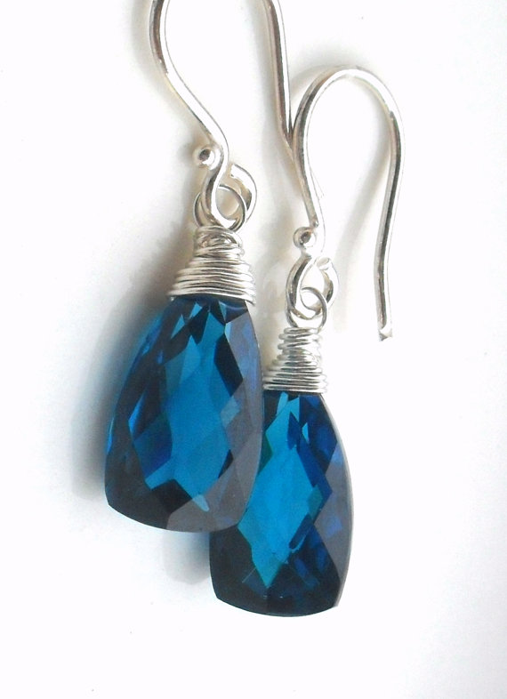 Blue Quartz Sterling Gemstone Earrings