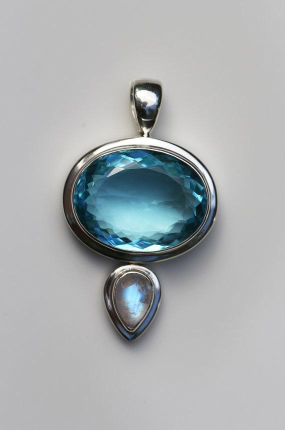 Blue Quartz with Moonstone Pendant, High Quality Semi Precious Gemstone Jewelry