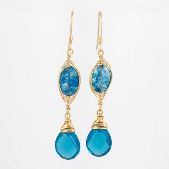 Blue Rainbow Moonstone and Teal Quartz Earrings, Herringbone Wire Wrapped Earrings, Blue Gemstone Earrings, Teal Blue Earrings