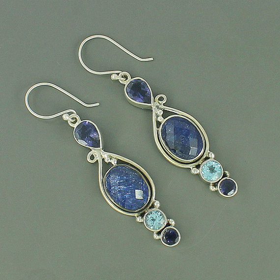 Blue Sapphire, Iolite & Blue Topaz Gemstone Earrings, 925 Sterling Silver Earrings, Women's Gift Jewelry, Designer Gift Earrings Jewelry