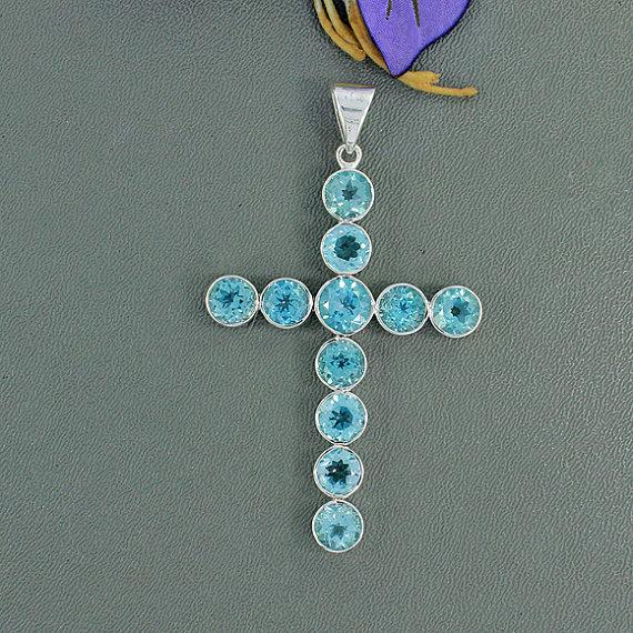 Blue Topaz Pendant -Blue Topaz and Sterling Silver Cross Pendant -Stunning Blue Topaz -December Birthstone -Blue Gemstone Jewelry