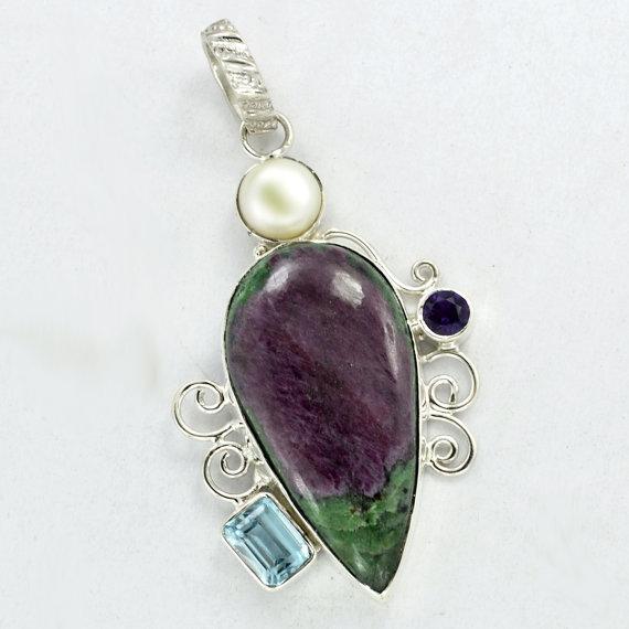 Blue Topaz Pendant, stone pendant, silver Pendant, Natural Ruby Zoisite stone Pendant, Genuine Gemstone Pendant, 925 sterling silver pendant
