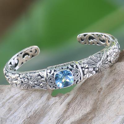Blue Topaz and Sterling Silver Cuff Bracelet from Indonesia