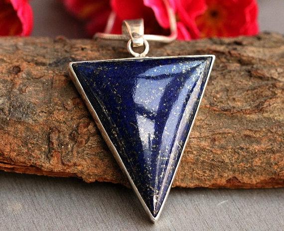 Blue pendant - Lapis lazuli pendant - Lapis pendant - Bezel pendant - triangle pendant - Gemstone pendant 2
