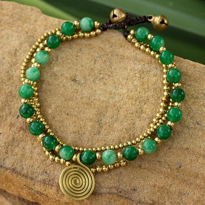 Brass Beaded Aventurine Bracelet from Thailand