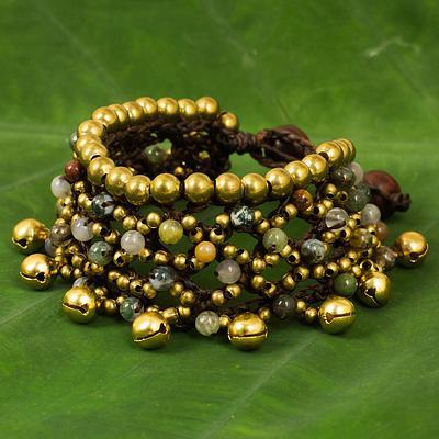 Brass Bells and Jasper on Handcrafted Wristband Bracelet