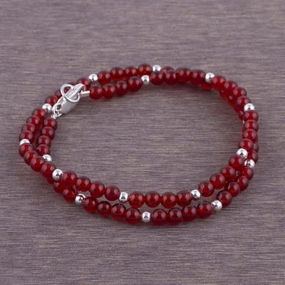 Carnelian and Sterling Silver Wrap Bracelet