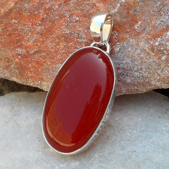Carnelian gemstone Pendant - Natural orange Pendant - Semiprecious gemstone Jewelry - Handmade Pendant - Statement Pendant - Gift Pendant