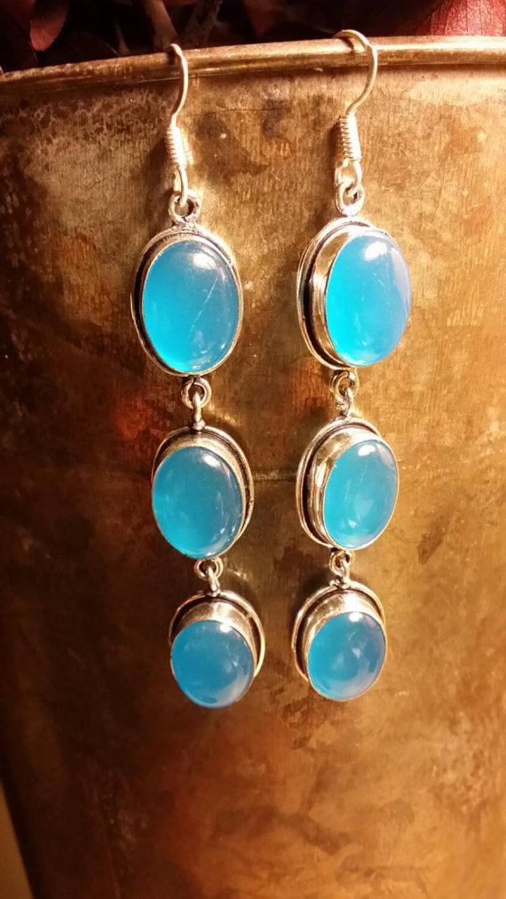 Chalcedony .925 Sterling Silver Boho Earrings GemStone Earrings Dangle Oval Bezel Set Ethnic Gypsy Style
