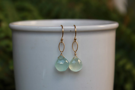 Chalcedony Dangle Earrings, Gold or Silver, Blue Gemstone Earrings, Chalcedony, Lightweight Earrings