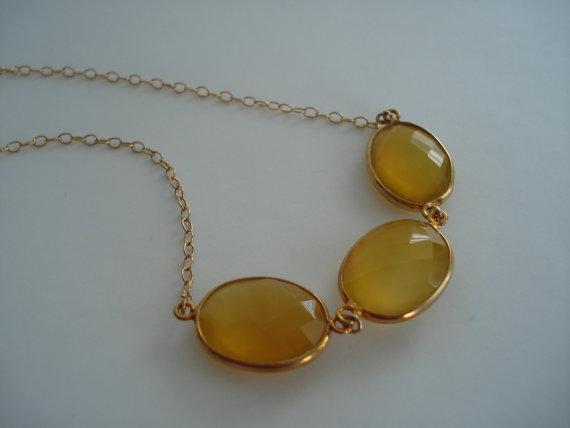 Chalcedony Gemstone Necklace, Eternity Necklace, 3 Stone Necklace, 17 inch necklace, lululily