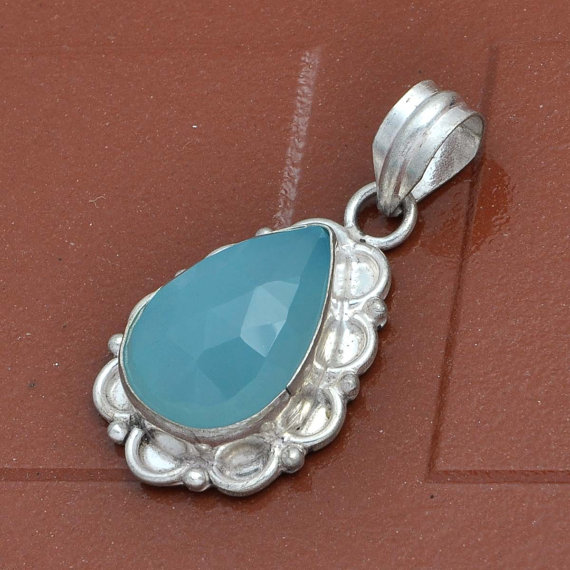 Chalcedony Gemstone silver pendants handmade fine pendants