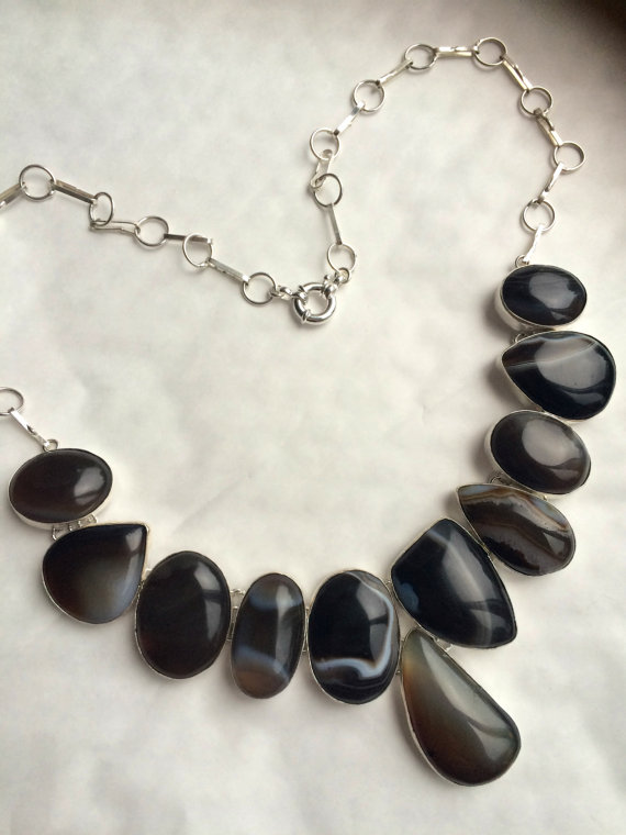 Chunky Botswana Agate necklace, Sterling Silver gray and black statement gemstone necklace, black designer gemstone jewelry, Agate jewellery