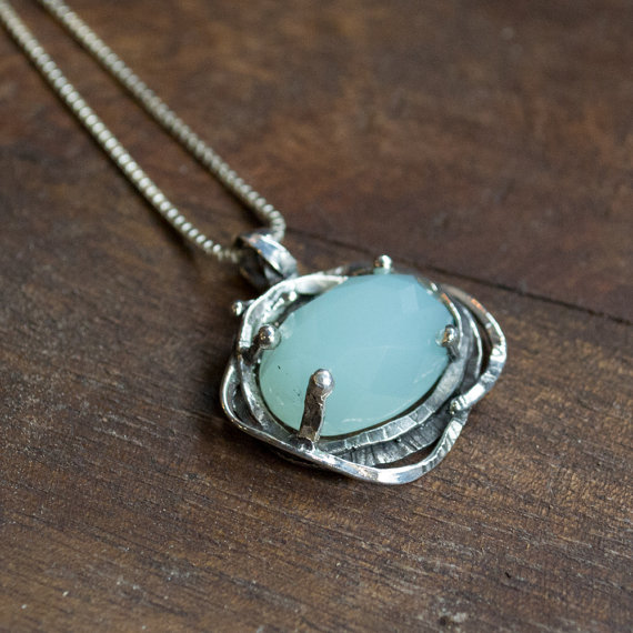 Chunky Silver pendant, Green jade Pendant, silver box chain, gemstone pendant, organic pendant, simple necklace