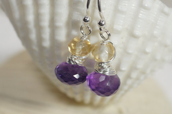 Cirine Amethyst Wire Wrapped Earrings Gemstone Earrings Small Earrings birthstone Jewelry