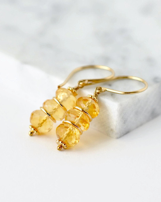 Citrine Earrings  Beaded Earrings  Stacked Earrings Yellow Gemstone Earrings  November Birthstone Jewelry  Gold Citrine Earrings