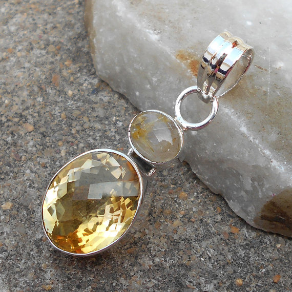 Citrine Pendant, Handmade Pendant, 925 Silver Pendant, Citrine Jewelry, Yellow Stone Pendant, Rutilated Quartz Pendant, Bezel Set Pendant