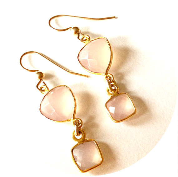 Contemporary earrings Genuine pink chalcedony drop earrings Bridal earrings Natural gemstone earrings Soft pink earrings