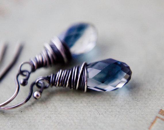 Crystal Earrings, Swarovski Crystal, Crystal Jewelry, Ink Well, Drop Earrings, Dangle Earrings, Midnight Blue, Minimalist