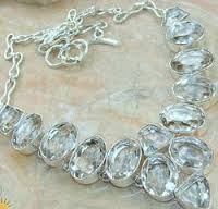 Crystal Gemstone Silver Necklace