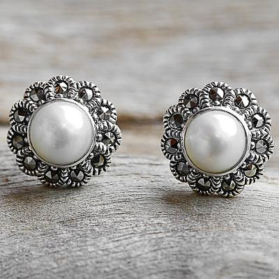 Cultured Pearl Marcasite Stud Earrings
