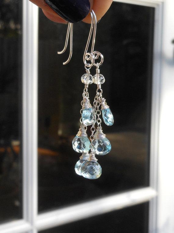 Dangle Blue Topaz Earrings, Chain Earrings, December Birthstone sterling silver, Gemstone Jewelry