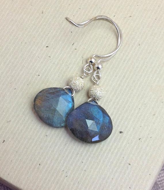 Dangle gemstone briolette, labradorite earrings, , gemstone earrings, sterling silver stardust bead