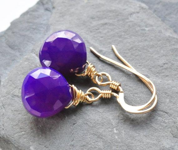 Dark Royal purple Chalcedony Heart Briolette Wire Wrapped Gemstone Earrings, Chalcedony Gemstone Dangle Drop Earrings, Wedding Jewelry