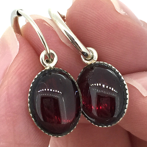 Deep Red Garnet Gemstone and Sterling Silver Hoop Earrings
