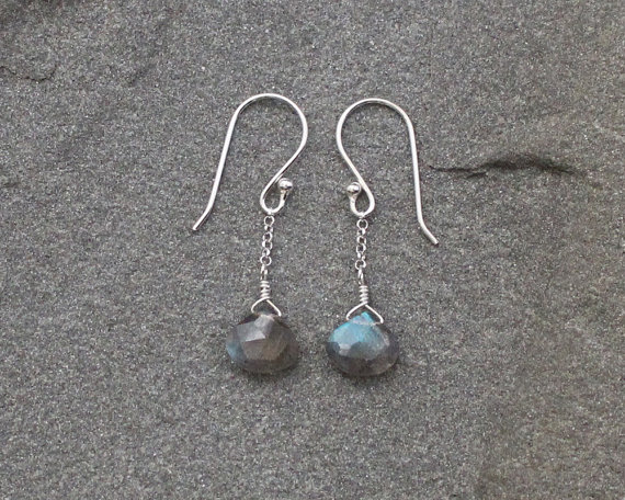 Delicate Labradorite Earrins, Dgs, Gemstone Earringangle Earrings, Labradorite Clusters, Labradorite Dangles, Gray Beads, Sterling Silver